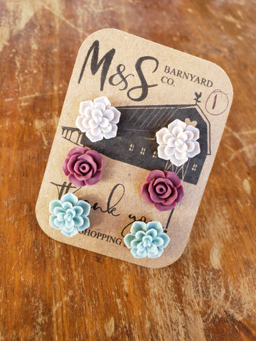 Succulent / Rose Earrings