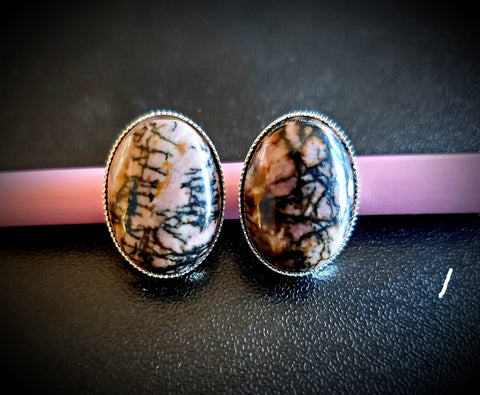 Genuine Striped Pink & Black Agate Oval Sawtooth Hypoallergenic Earrings.