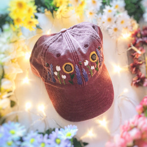Faded Red Floral Garden Cap