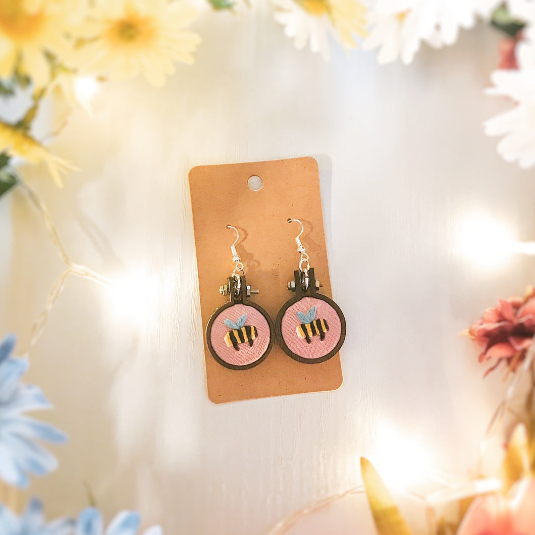 Pink Bee Earrings