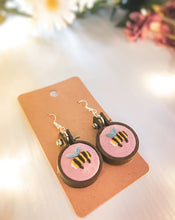 Load image into Gallery viewer, Pink Bee Earrings