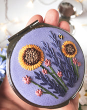 Load image into Gallery viewer, Purple Floral Compact Mirror