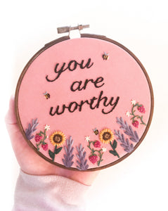 """You Are Worthy"" Floral Wall Art"