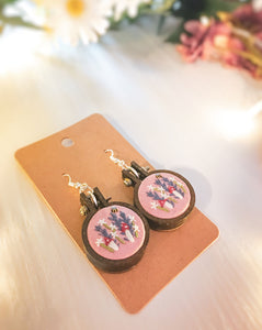Pink Flower Garden Earrings