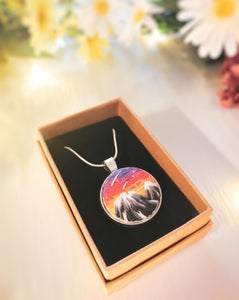 Sunset Mountain Landscape Necklace