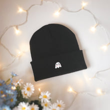 Load image into Gallery viewer, Black Blushing Ghostie Beanie