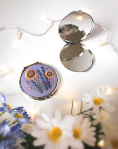Purple Floral Compact Mirror