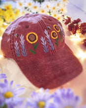 Load image into Gallery viewer, Faded Red Floral Garden Cap