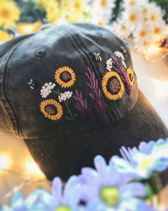 Faded Grey Floral Garden Cap