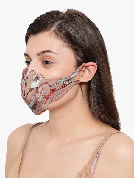 Women's Gathered Effect Foil Printed Reusable Face Mask - Anti Dust / Anti Pollution