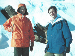 Wearing the iconic Holubar jackets while mountaineering