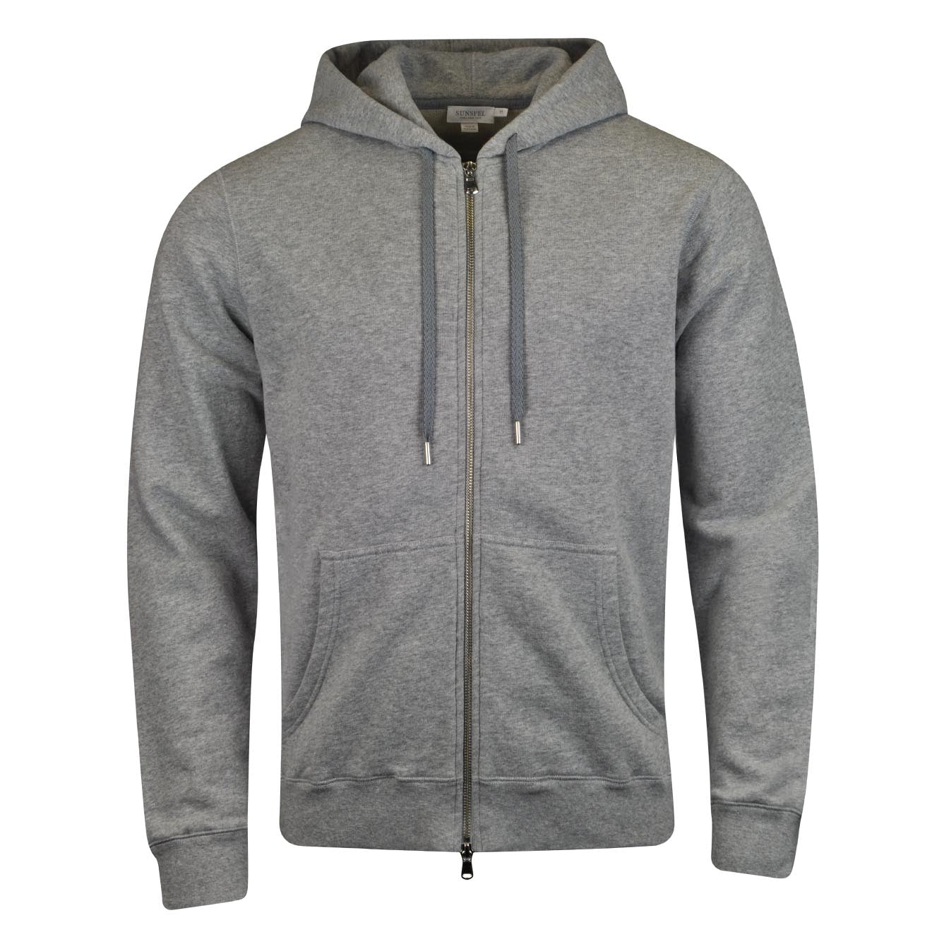 MEN'S COTTON LOOPBACK ZIP HOODY IN GREY MELANGE 4
