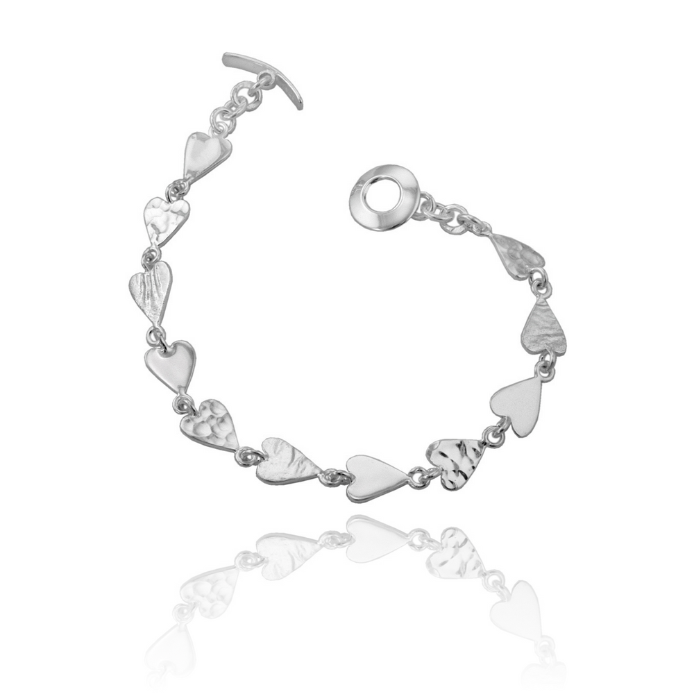 Silver Multi Textured Mini Heart Bracelet
