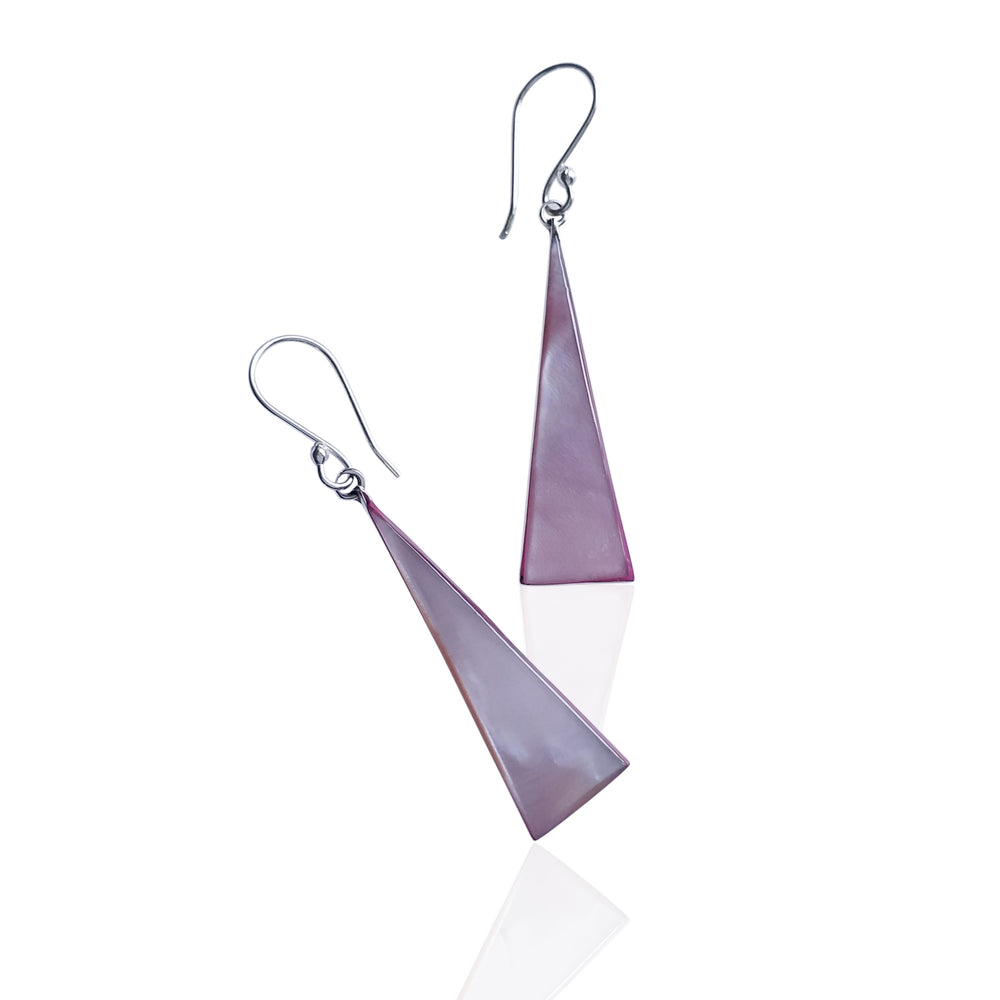 Silver and Pink Mother Of Pearl Triangular Earrings