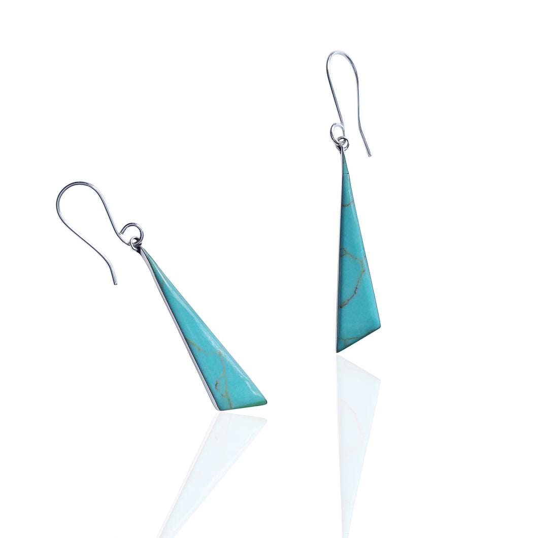 Silver and Turquoise Geometric Triangle Drop Earrings