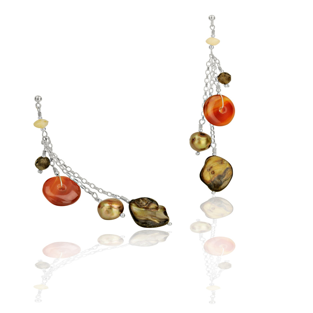 Silver, Carnelian, & Mother Of Pearl Long Drop Earrings