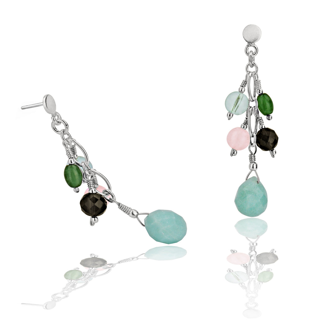 Sliver, Chinese Amazonite, Smokey Topaz, & Pink & Green Jade Cluster Drop Earrings