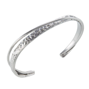 Silver Hammered Crossed Cuff