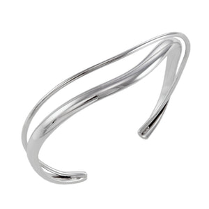 Silver Curved Double Bar Cuff