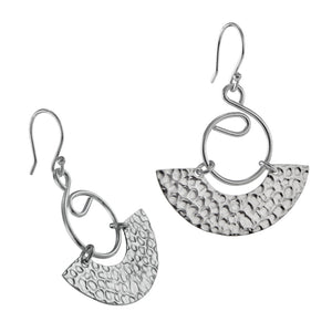 Load image into Gallery viewer, Silver Hammered Semi Circle Drop Earrings