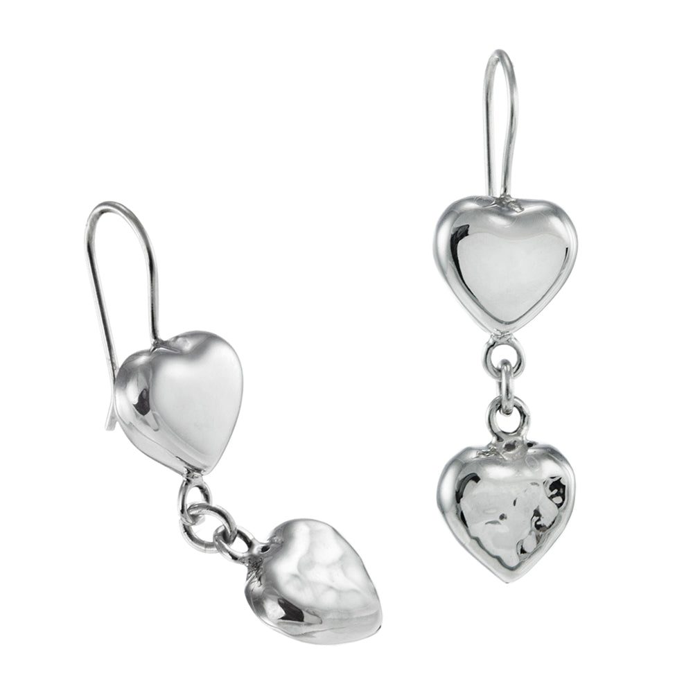 Load image into Gallery viewer, Silver Puffed Heart Drop Earrings