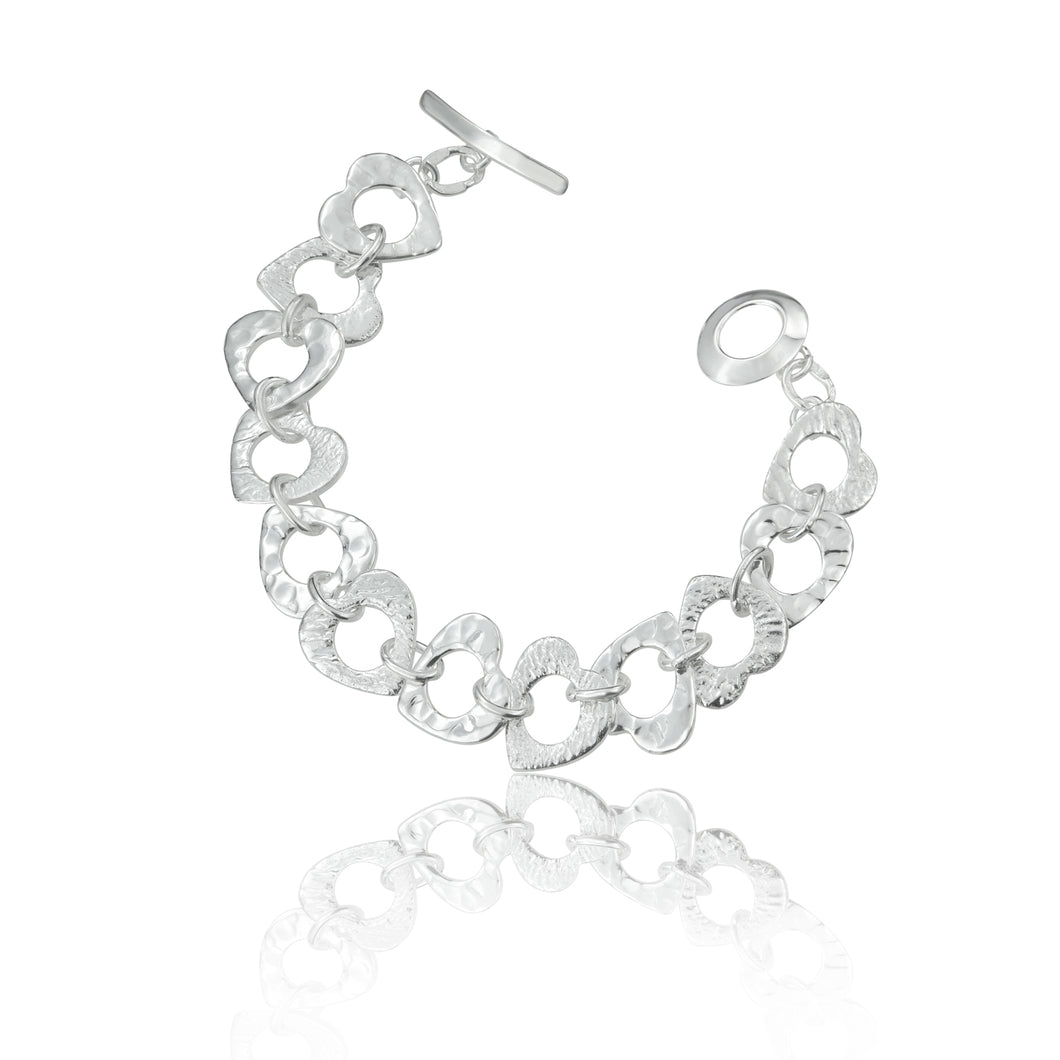 Silver Multi Textured Heart Bracelet