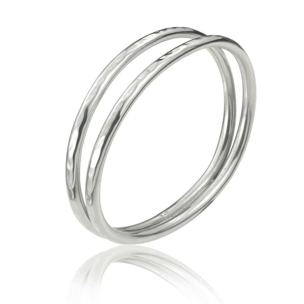 Load image into Gallery viewer, Silver Hammered Open Tube Bangle