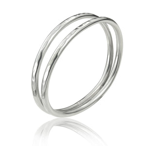Silver Hammered Open Tube Bangle