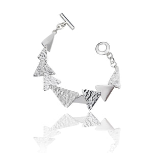 Silver Triple Textured Triangle Link Bracelet
