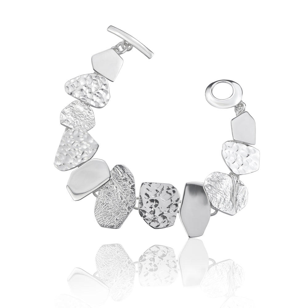 Silver Triple Textured Angular Shaped Bracelet