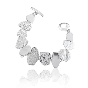 Load image into Gallery viewer, Silver Triple Textured Angular Shaped Bracelet