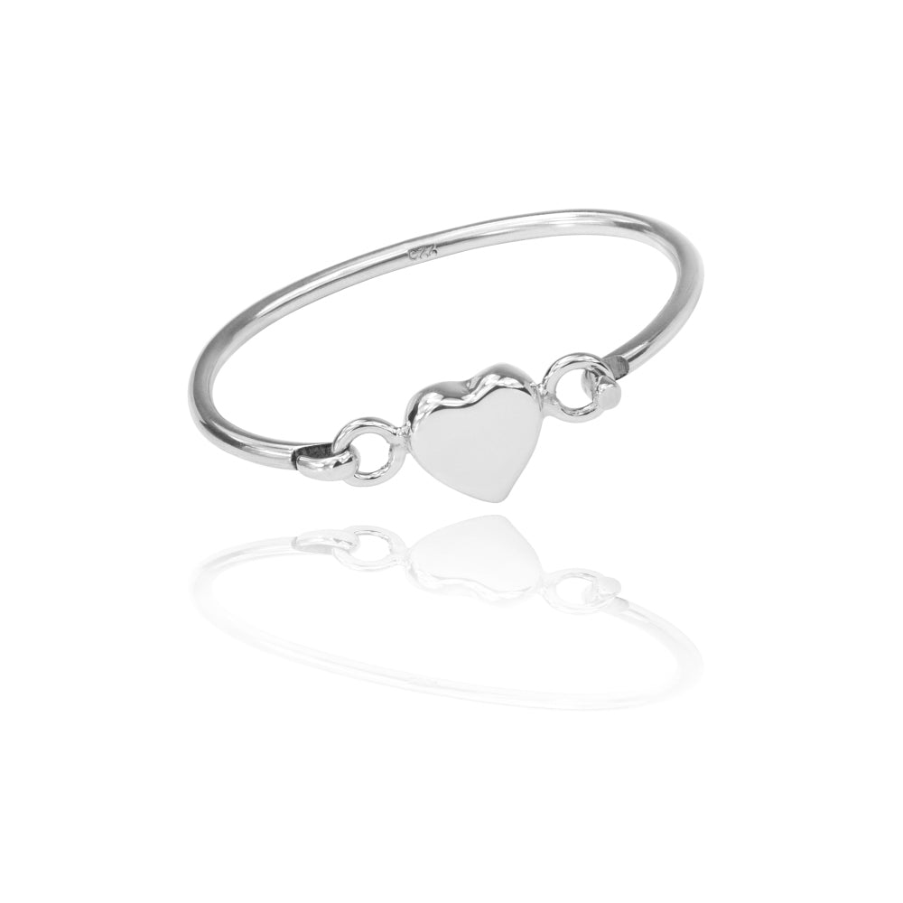 Silver Childs Puffed Heart Bangle