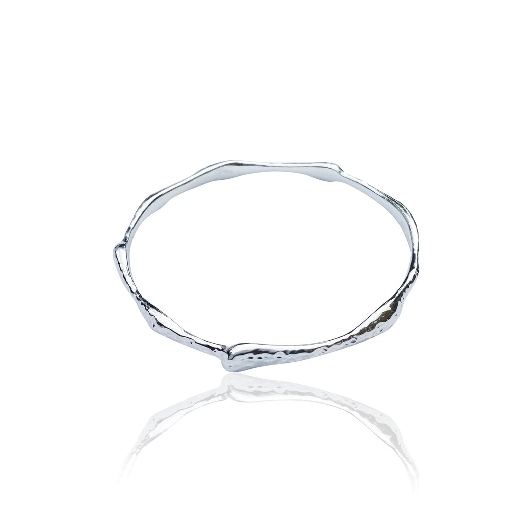 Silver Hammered Molten Bangle