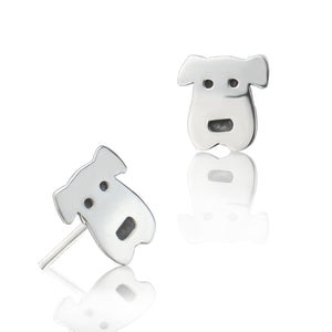 Load image into Gallery viewer, Silver Dog Face Stud Earrings