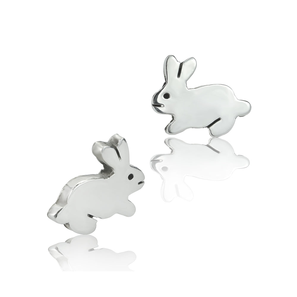 Load image into Gallery viewer, Silver Mini Rabbit Stud Earrings