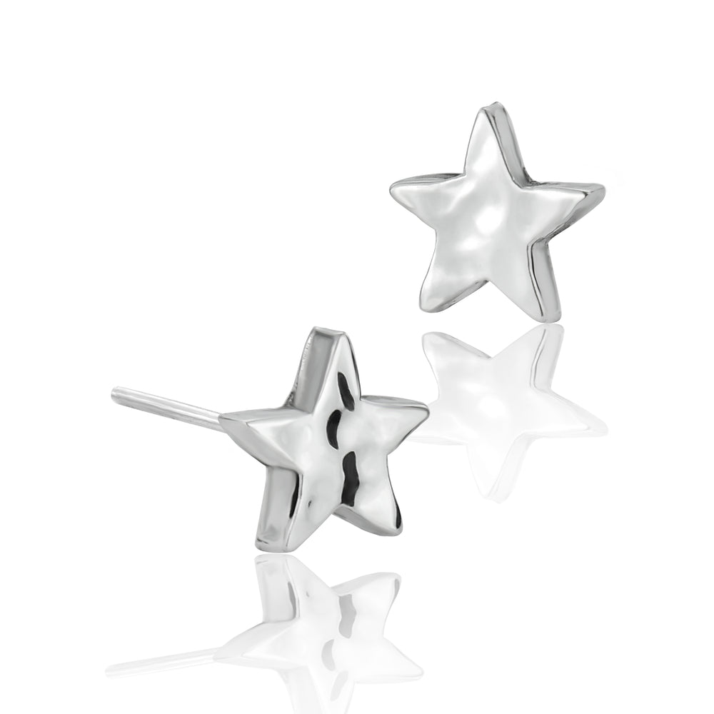 Silver Mini Hammered Star Stud Earrings