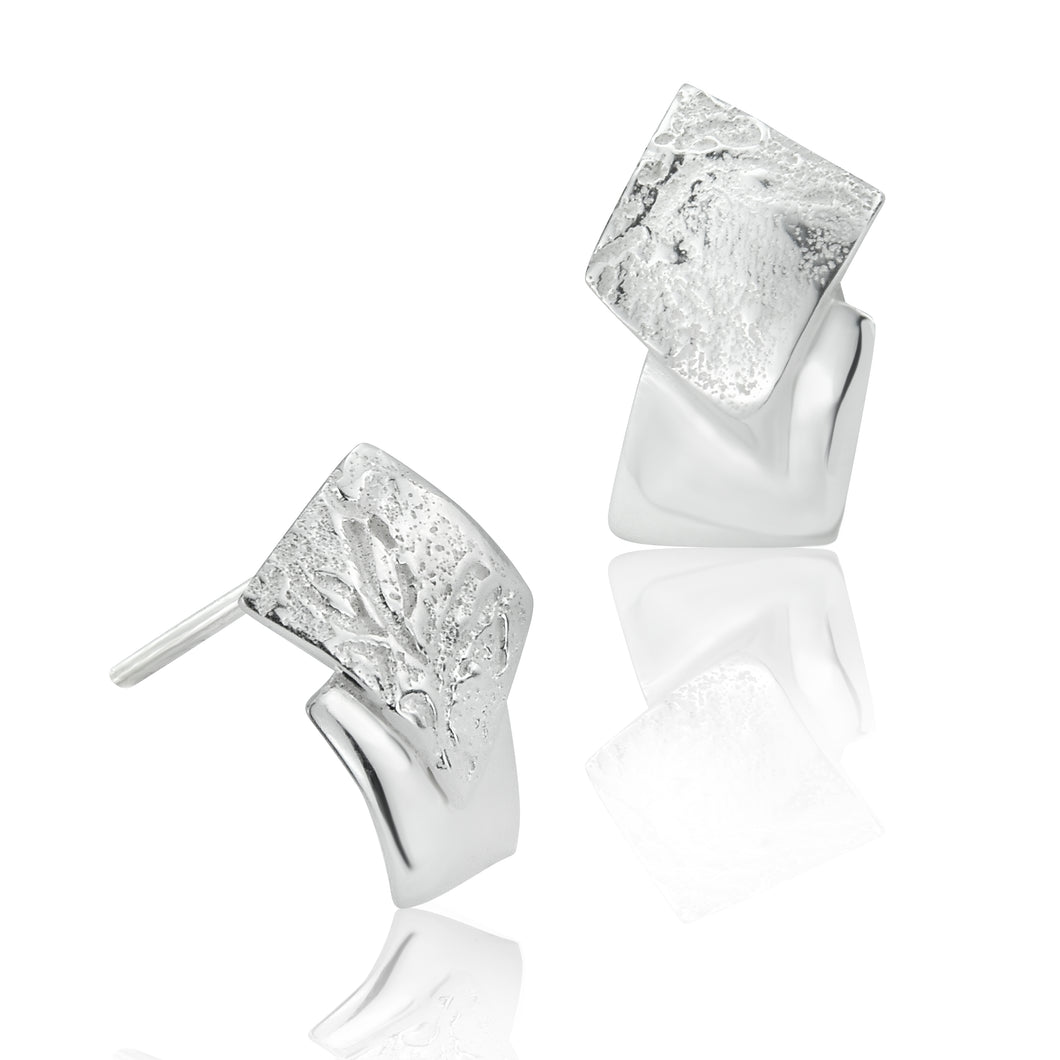 Silver Organic Double Square Stud Earrings