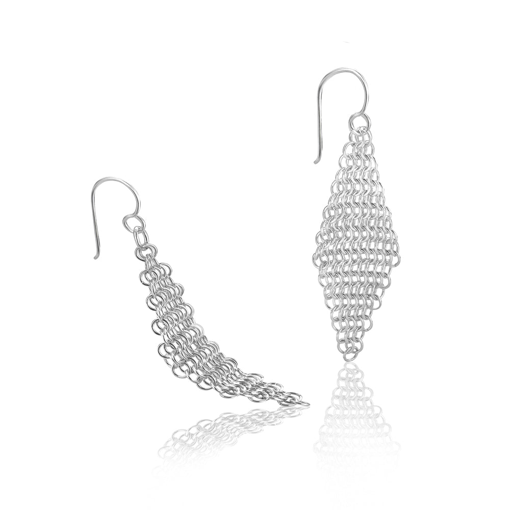 Silver Chain Mail Drop Earrings