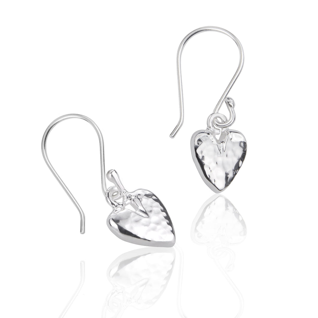 Silver Hammered Heart Drop Earrings