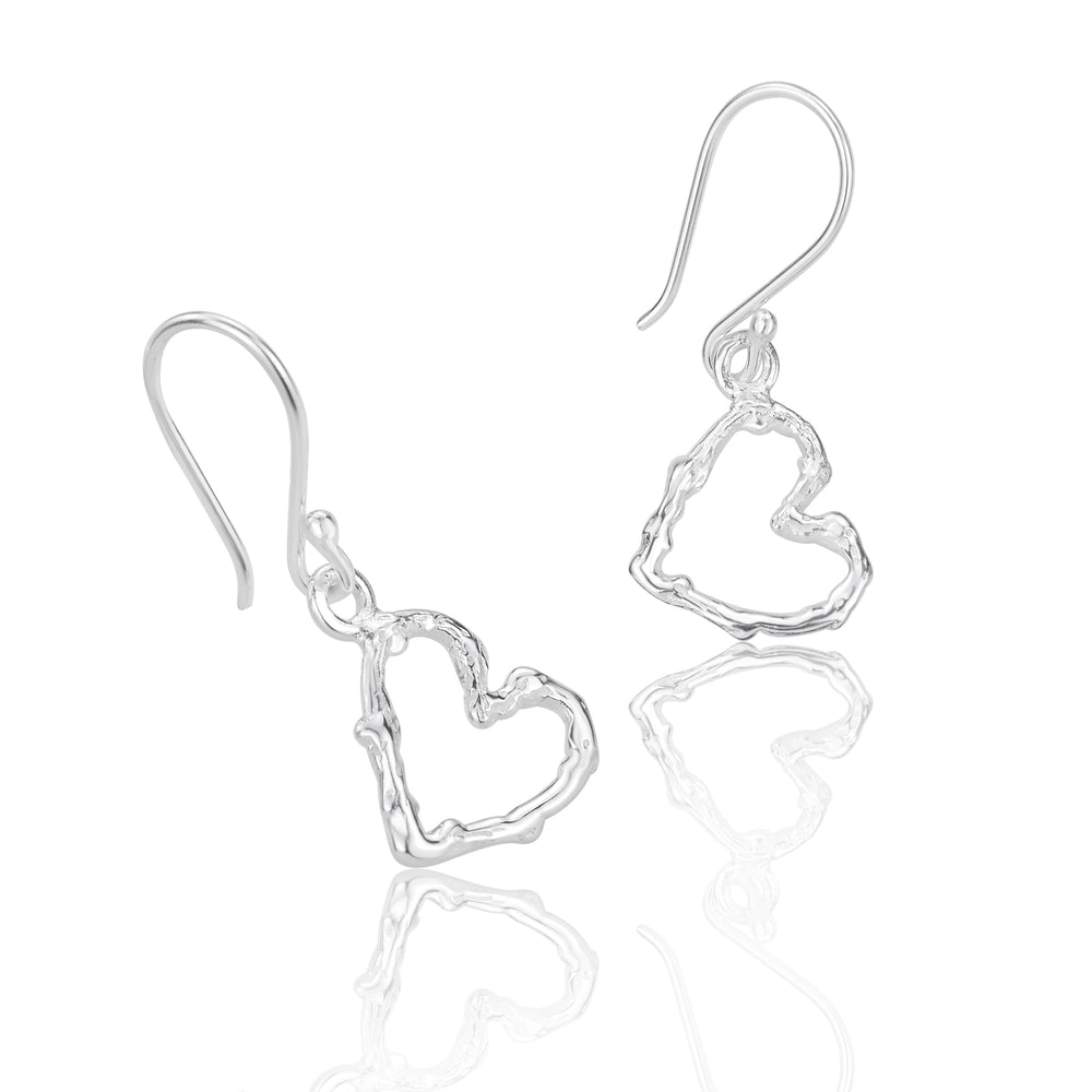 Load image into Gallery viewer, Silver Twig Heart Drop Earrings