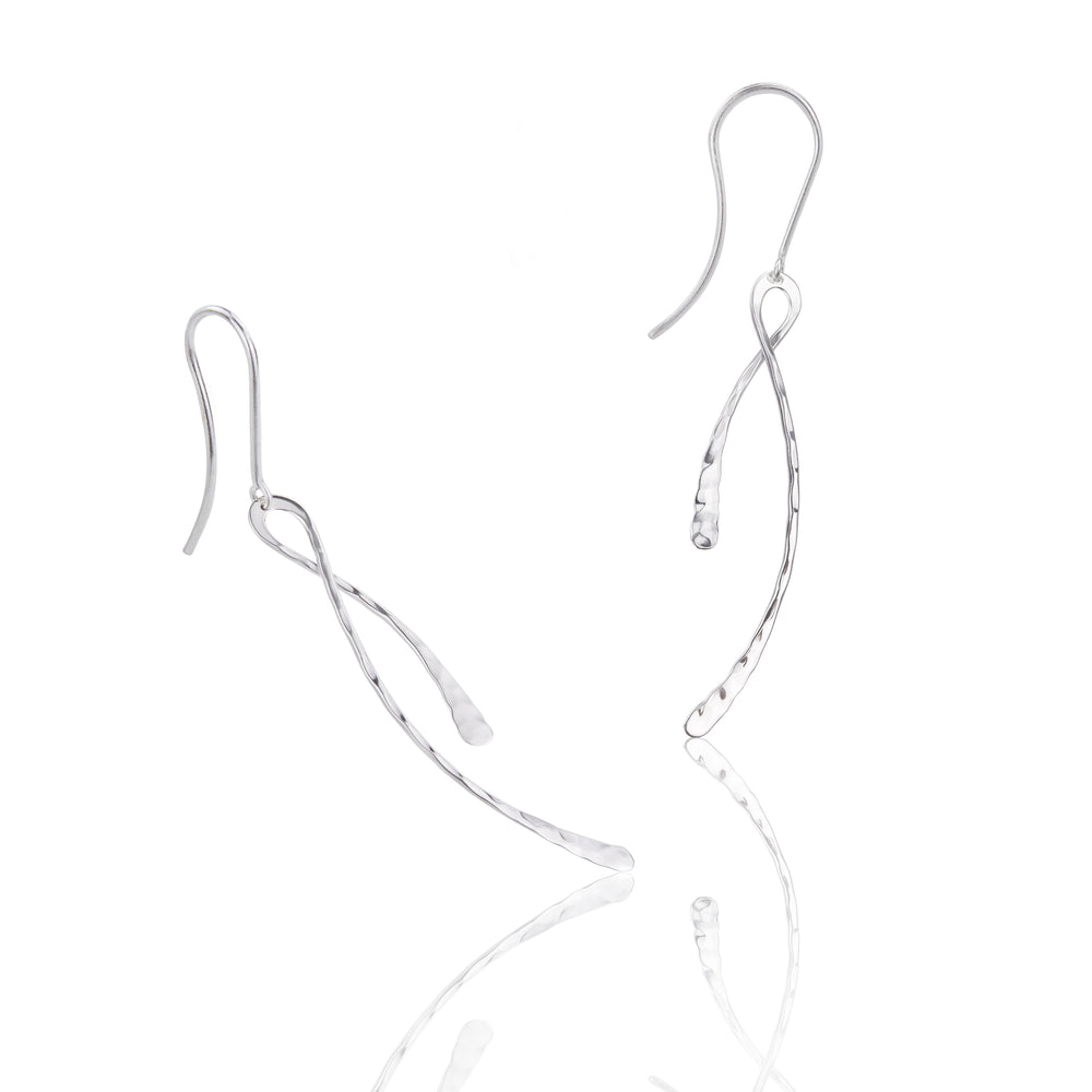 Load image into Gallery viewer, Silver Hammered Long Drop Earrings