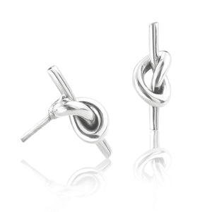Silver Knotted Tube Stud Earrings