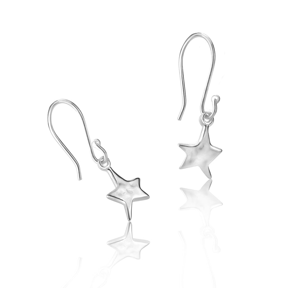 Silver Hammered Mini Star Drop Earrings