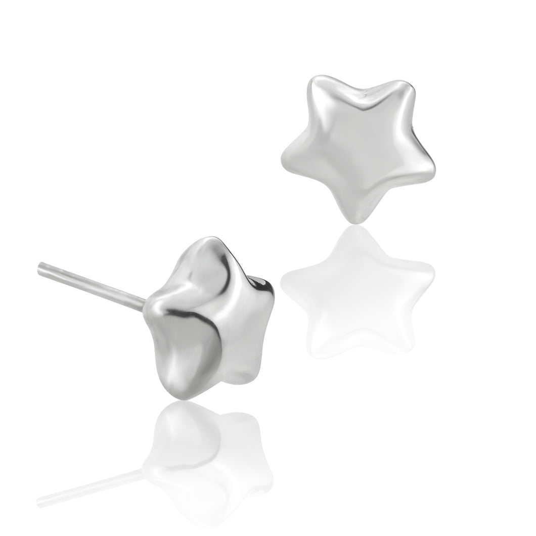 Silver Puffed Star Stud Earrings