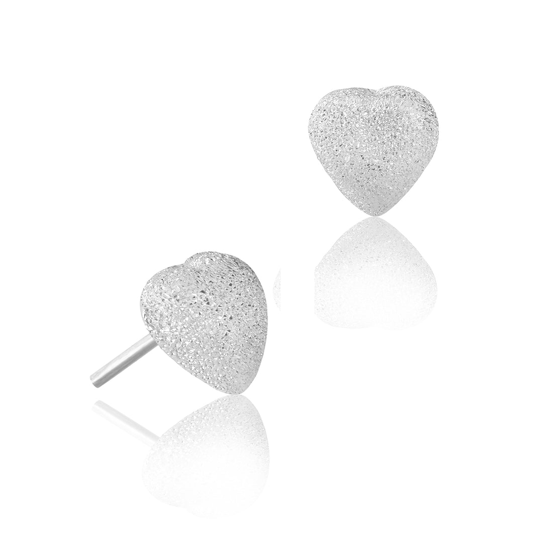 Silver Sparkly Heart Stud Earrings
