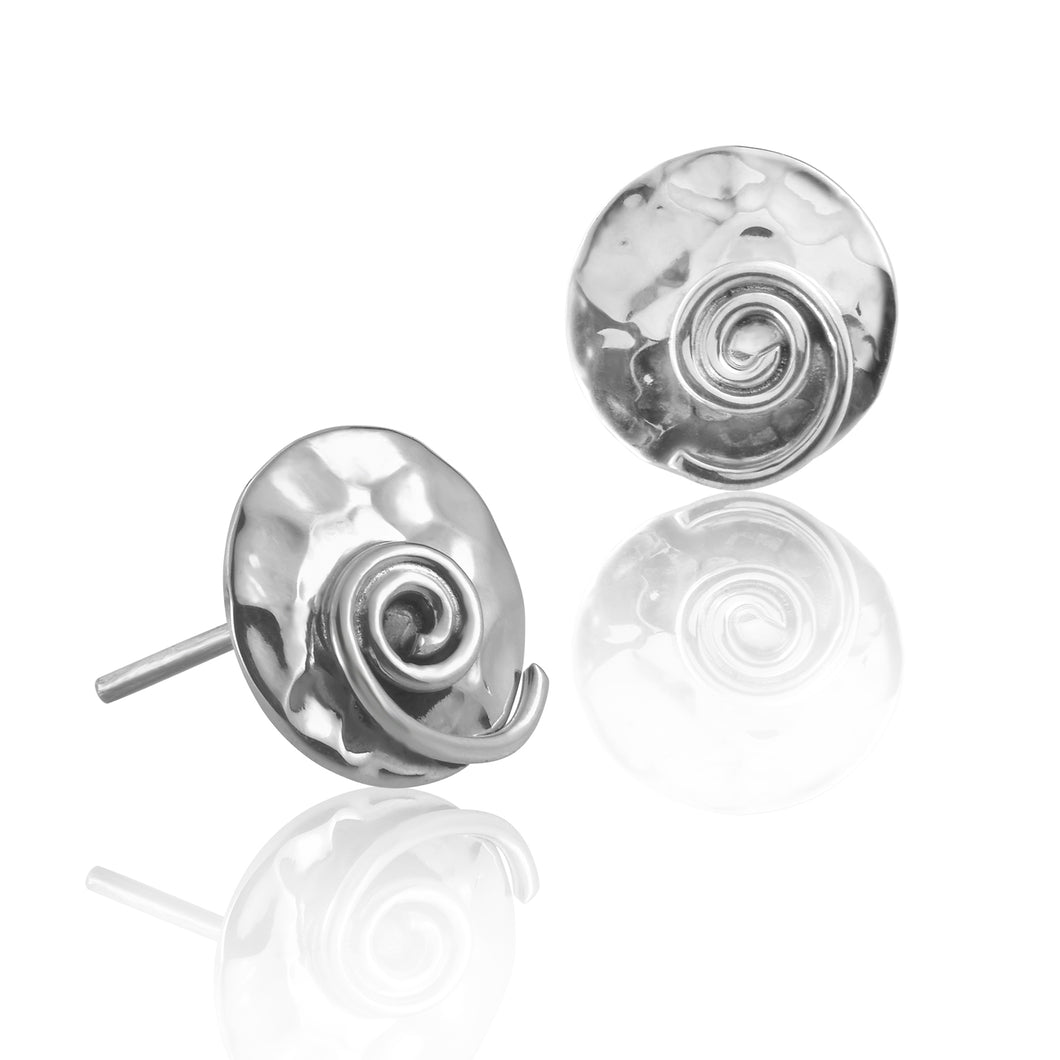 Silver Hammered Disc Swirl Stud Earrings