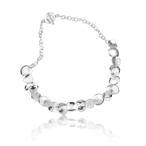 Silver Triple Textured Curved Disc Necklace