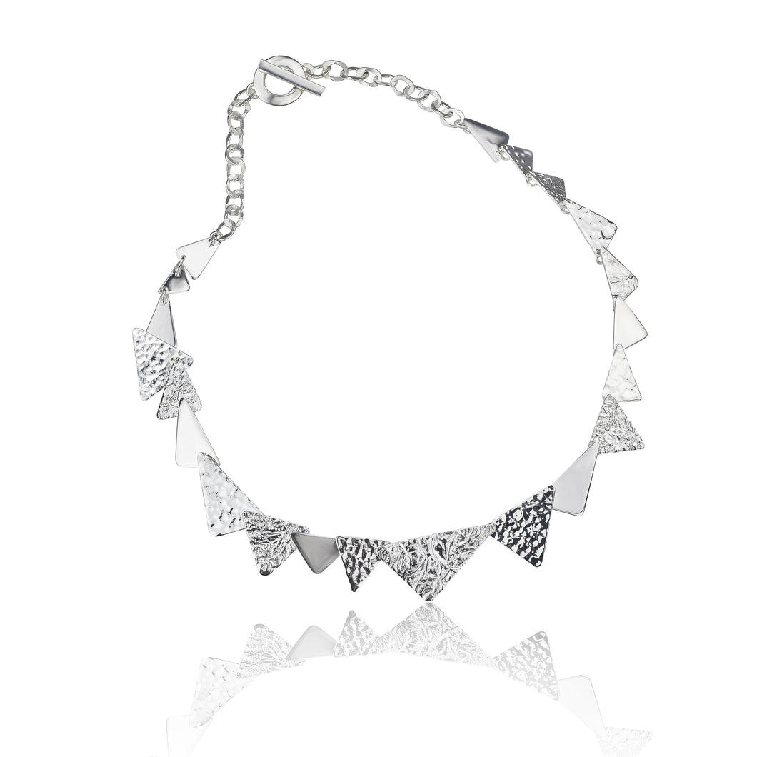 Silver Triple Textured Triangle Link Necklace