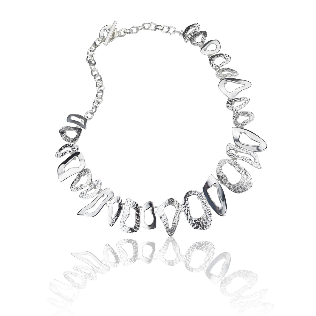 Silver Triple Textured Cut Out Oval Necklace