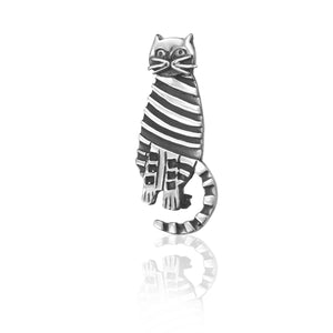 Silver Striped Cat Brooch